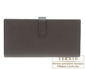Hermes Bearn Soufflet Chocolat/Chocolate Epsom leather Silver hardware