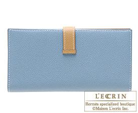 Hermes Bearn bi-fold wallet Blue jean/Natural Epsom leather Silver hardware