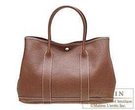 Hermes Garden Party bag PM Marron dinde Negonda leather Silver hardware