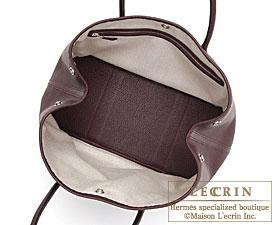 Hermes Garden Party bag PM Prune Negonda leather Silver hardware