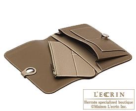 Hermes Dogon GM Etoupe grey/Gris tourterelle Togo leather Silver hardware