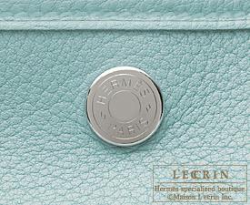 Hermes Garden Party bag PM Ciel Negonda leather Silver hardware
