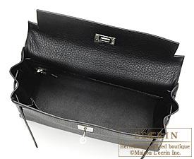 Hermes Kelly bag 32 Black Clemence leather Silver hardware
