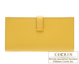 Hermes Bearn Soufflet Soleil/Soleil yellow Epsom leather Gold hardware