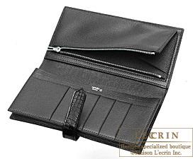 Hermes Bearn Soufflet Black Matt alligator crocodile skin Silver hardware