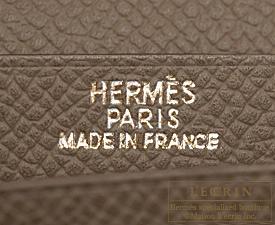 Hermes Bearn Soufflet Etoupe grey Epsom leather Gold hardware