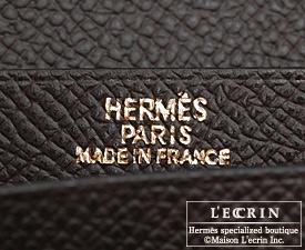 Hermes Bearn Soufflet Chocolat/Chocolate Epsom leather Gold hardware