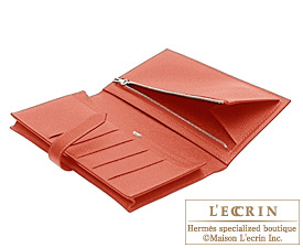 Hermes Bearn Soufflet Rouge venitienne/Venetian red Epsom leather Silver hardware