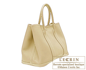 Hermes Garden Party bag PM Beige Buffalo sindou leather Silver hardware