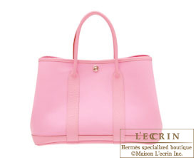 Hermes Garden Party bag PM Pink Toile officier cotton canvas with Buffalo leather Silver hardware