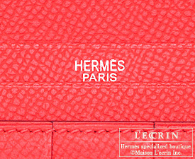 Hermes Bearn Soufflet Bougainvillier/Gold yellow Epsom leather Silver hardware