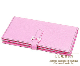 Hermes Bearn Soufflet Pink Chevre myzore goatskin Silver hardware