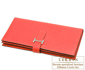 Hermes Bearn Soufflet Bougainvillier Chevre myzore goatskin Silver hardware