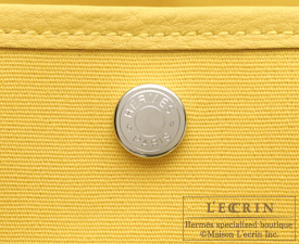 Hermes Garden Party bag PM Soleil Toile officier cotton canvas with Buffalo leather Silver hardware