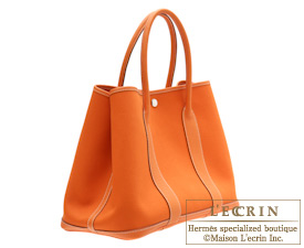 Hermes Garden Party bag PM Orange Toile officier cotton canvas with Buffalo leather Silver hardware