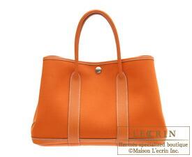 Hermes Garden Party bag TPM Orange Toile officier cotton canvas with Buffalo leather Silver hardware
