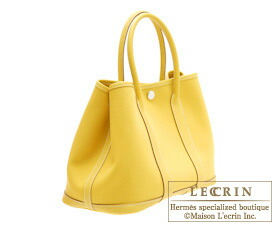 Hermes Garden Party bag TPM Soleil Toile officier cotton canvas with Buffalo leather Silver hardware