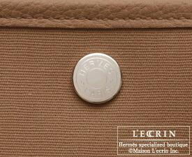 Hermes Garden Party bag TPM Alezan Toile officier cotton canvas with Buffalo leather Silver hardware