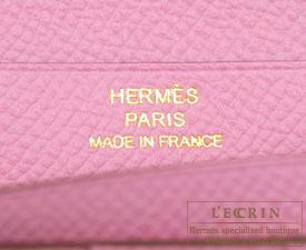 Hermes Bearn Soufflet Pink Epsom leather Gold hardware