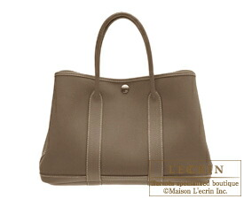 hermes canvas tote bag - Hermes Garden Party bag TPM Etoupe grey Cotton canvas Silver ...