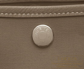 Hermes Garden Party bag TPM Etoupe grey Toile officier cotton canvas with Buffalo leather Silver hardware