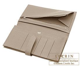 Hermes Bearn Soufflet Gris tourterelle/Mouse grey Chevre myzore goatskin Silver hardware