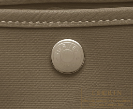 Hermes Garden Party bag PM Etoupe grey Toile officier cotton canvas with Buffalo leather Silver hardware