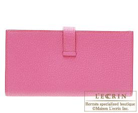 Hermes Bearn Soufflet Rose tyrien/Hot pink Chevre myzore goatskin Silver hardware