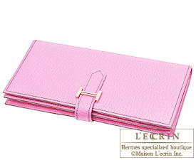 Hermes Bearn Soufflet Pink Chevre myzore goatskin Gold hardware