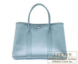 Hermes Garden Party bag TPM Ciel Toile officier cotton canvas with Buffalo leather Silver hardware