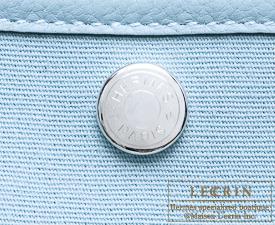 Hermes Garden Party bag PM Ciel Toile officier cotton canvas with Buffalo leather Silver hardware
