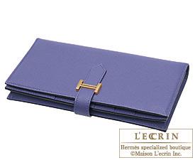 Hermes Bearn Soufflet Iris Epsom leather Gold hardware