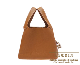 Hermes Picotin Lock bag PM Gold Clemence leather Silver hardware