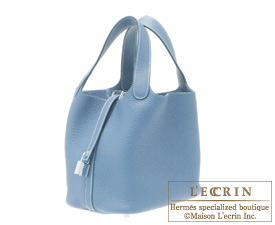 Hermes Picotin Lock bag PM Blue jean Clemence leather Silver hardware