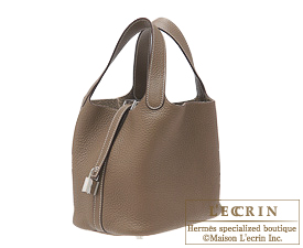 Hermes Picotin Lock bag MM Etoupe grey Clemence leather Silver hardware