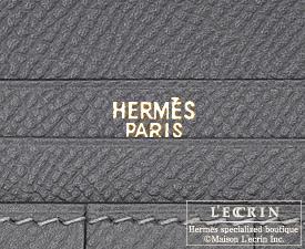 Hermes Bearn Soufflet Graphite Epsom leather Gold hardware