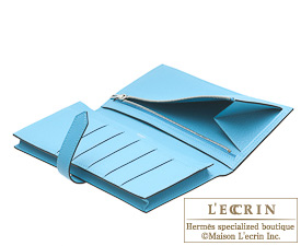 Hermes Bearn Soufflet Blue de malte/Blue aztec Chevre myzore goatskin Silver hardware