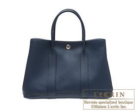 Hermes Garden Party bag TPM Blue de malte Buffalo sindhu leather Silver hardware