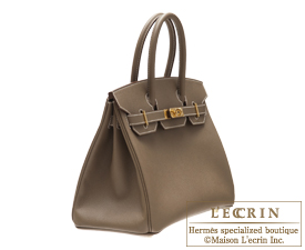 Hermes Birkin bag 30 Etoupe grey Epsom leather Gold hardware
