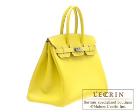b1bbbbde8885 ... Hermes Candy Birkin bag 35 Lime Lime yellow Epsom leather Silver  hardware