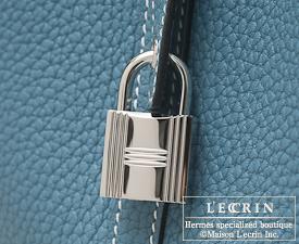 Hermes Birkin bag 30 Blue jean Clemence leather Silver hardware