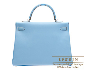 Hermes Candy Kelly bag 35 Celeste/Celeste blue Epsom leather Silver hardware