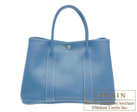 Hermes Garden Party bag PM Azur Negonda leather Silver hardware