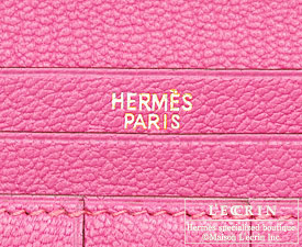Hermes Bearn Soufflet Rose tyrien/Hot pink Chevre myzore goatskin Gold hardware