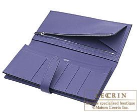 Hermes Bearn Soufflet Iris Chevre myzore goatskin Silver hardware