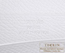 Hermes Bearn Soufflet Celeste/White Epsom leather Silver hardware