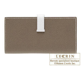 Hermes Bearn Soufflet Etoupe grey/White Epsom leather Silver hardware