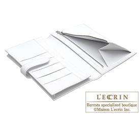 Hermes Bearn Soufflet Rose tyrien/White Epsom leather Silver hardware