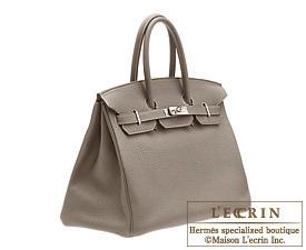 Hermes Birkin bag 35 Etain/Etain grey Clemence leather Silver hardware