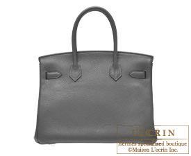 54946b4aaa Hermes Birkin bag 30 Graphite Clemence leather Gold hardware ...